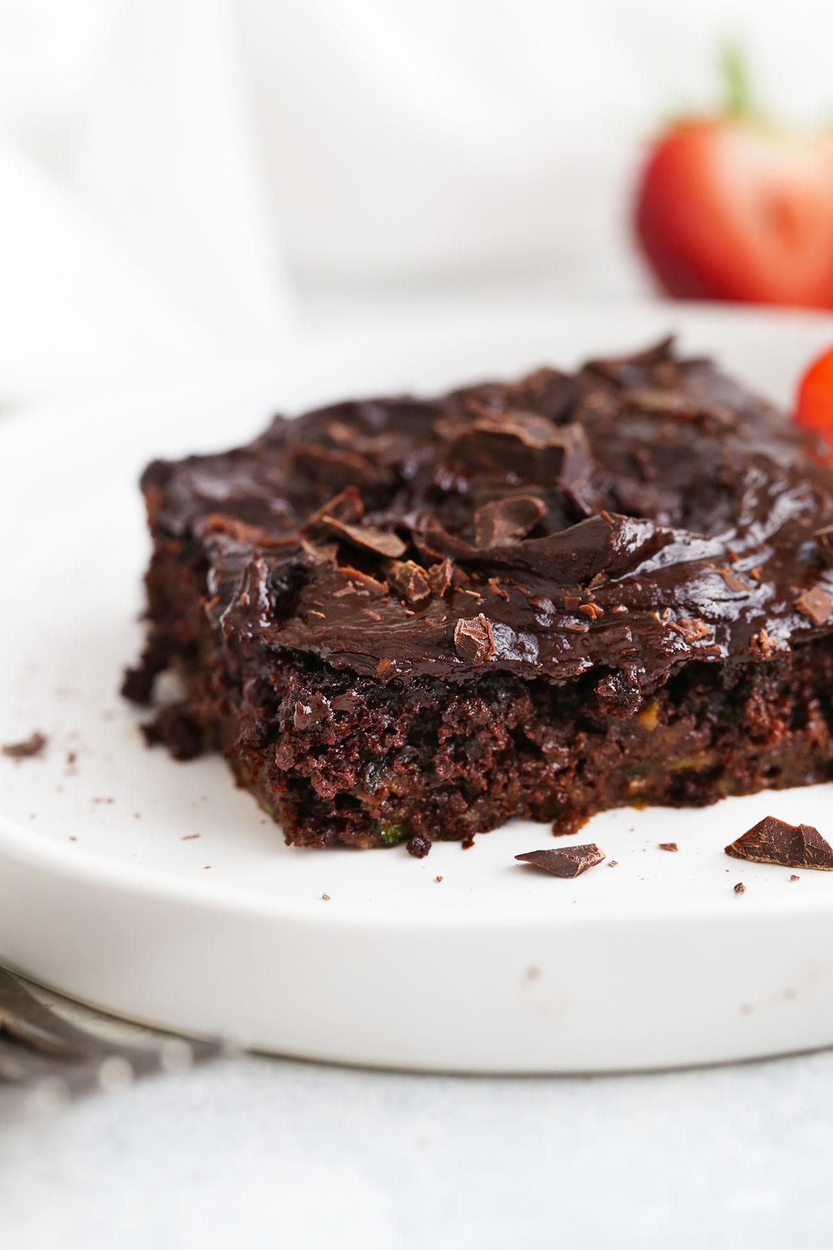 Close up view of Gluten Free Chocolate Zucchini Cake