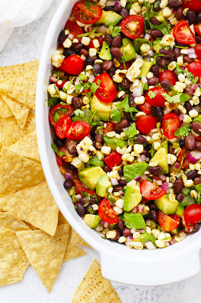 Close Up View of Cowboy Caviar Bean Dip from One Lovely Life