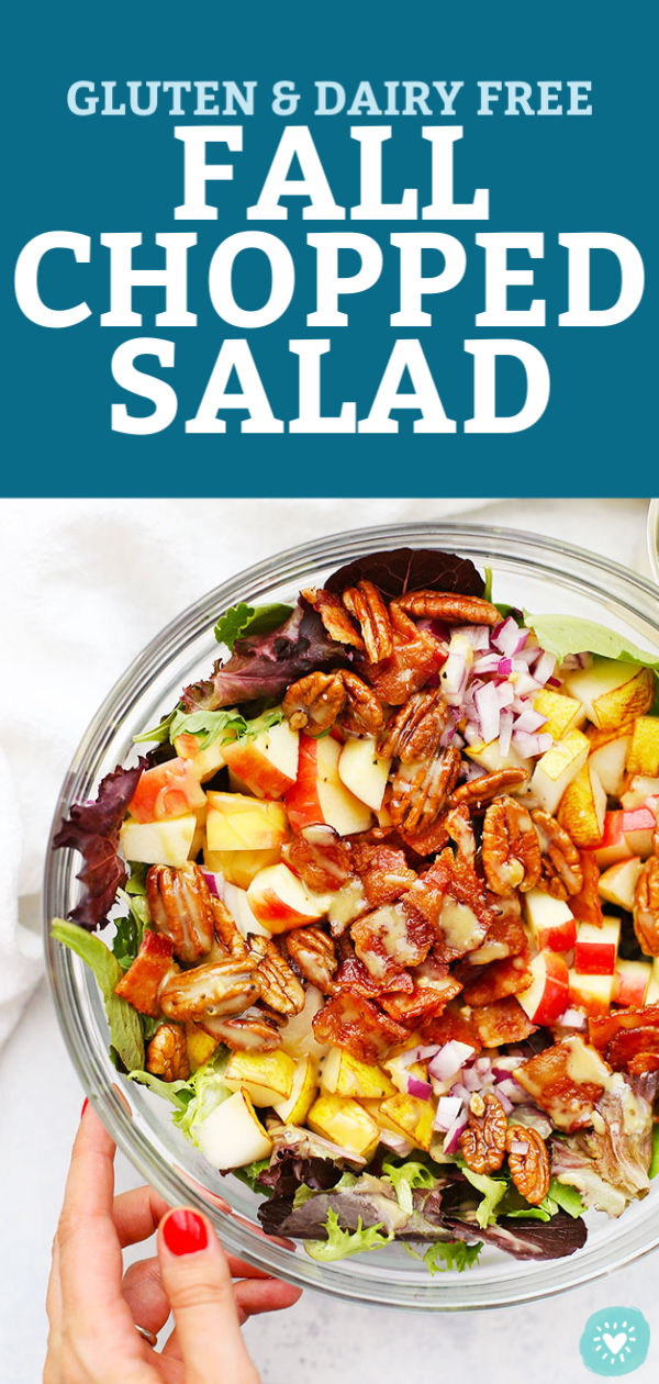 Fall Chopped Salad with Honey Mustard Dressing from One Lovely Life
