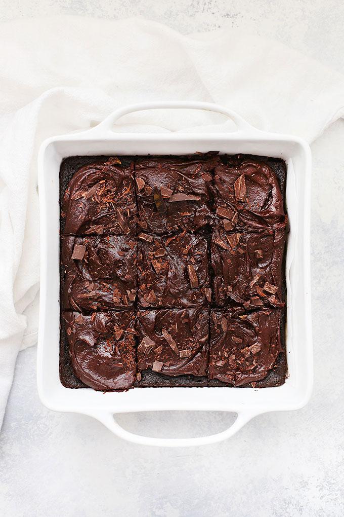 Gluten Free Chocolate Zucchini Cake in a White 8x8 pan