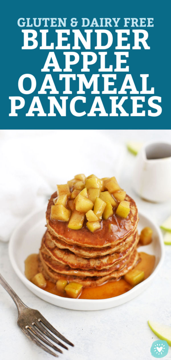Gluten Free Blender Apple Oatmeal Pancakes from One Lovely Life