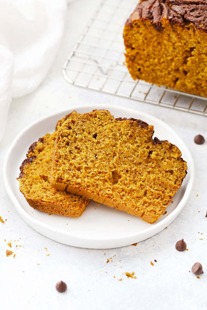 Slices of Gluten Free Pumpkin Bread with Chocolate Cinnamon Swirl from One Lovely Life