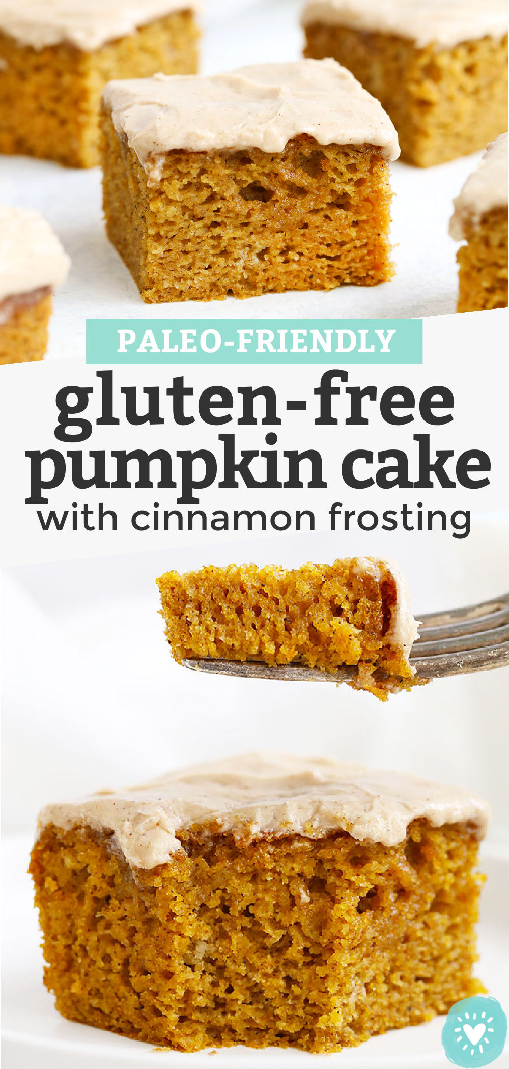 """Collage of images of gluten free pumpkin cake with cinnamon frosting with text overlay that reads """"Paleo Friendly Gluten Free Pumpkin Cake with Cinnamon Frosting"""""""