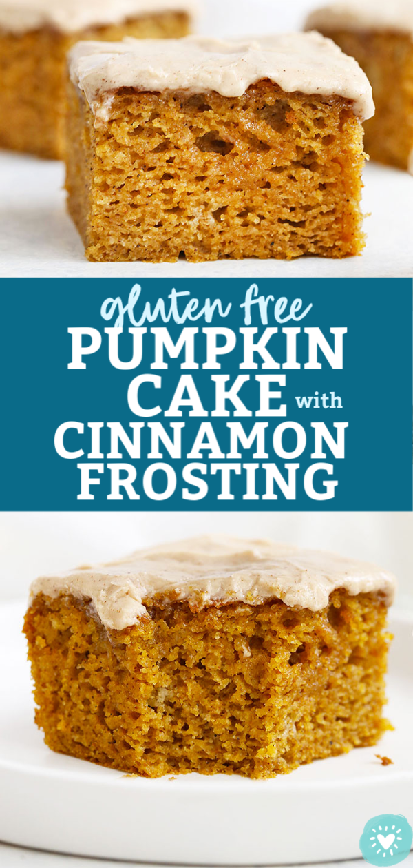 """Collage of images of Gluten Free Pumpkin Cake with Cinnamon Frosting with text overlay that reads """"Gluten-Free Pumpkin Cake with Cinnamon Frosting"""""""