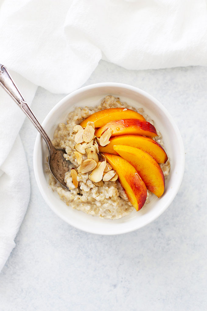Peach Almond Instant Pot Steel Cut Oats from One Lovely Life