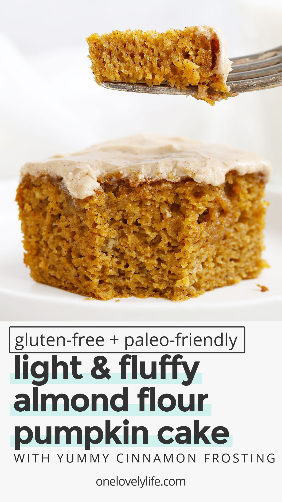 Gluten Free Pumpkin Cake with Cinnamon Frosting - This fluffy, perfectly-spiced pumpkin cake is what fall dreams are made of. It's the best pumpkin cake I've ever tasted! (Paleo-Friendly) // The Best Pumpkin Cake Recipe // Almond flour Pumpkin Cake #glutenfree #cake #pumpkincake #pumpkin #frosting