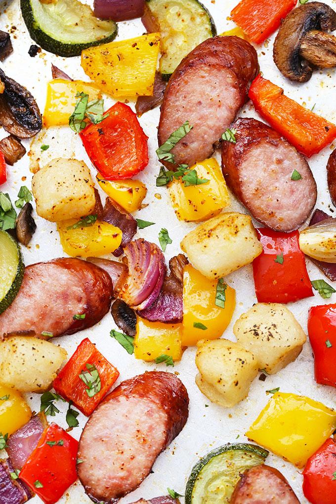 Sheet Pan Sausage, Gnocchi & Veggies from One Lovely Life