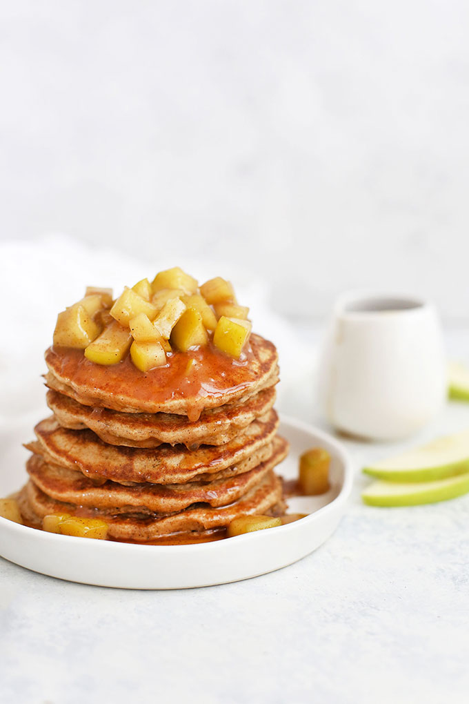 Gluten Free Blender Apple Oatmeal Pancakes with Apple Cinnamon Topping from One Lovely Life