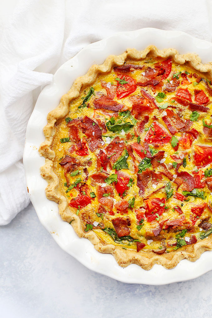 BLT Quiche in Gluten Free Crust from One Lovely Life