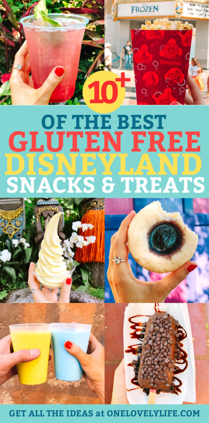 Collage of the best gluten free snacks and treats at Disneyland and California Adventure