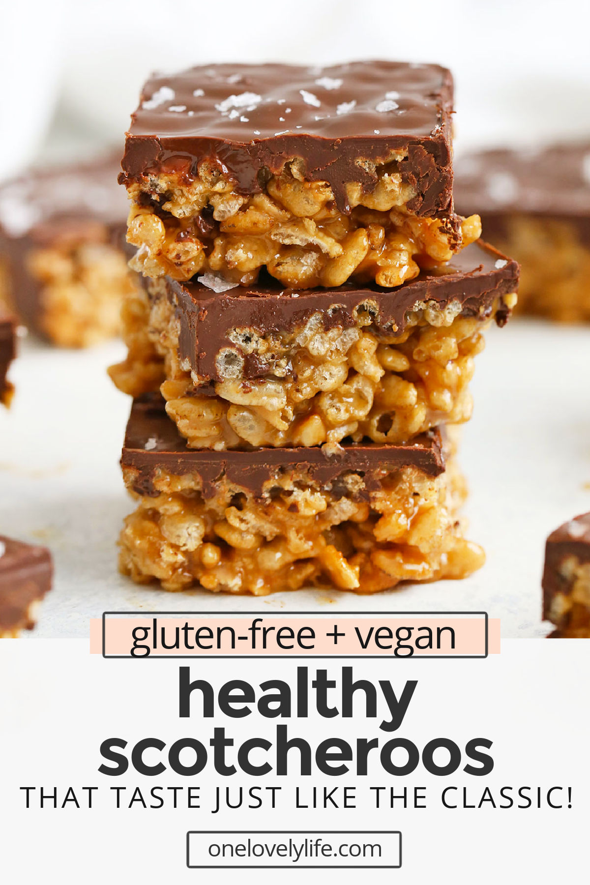 Healthy Scotcheroos - My childhood remadewithout corn syrup or refined sugar! You'll love these gooey peanut butterrice krispies treats withchocolate topping just as much as the original. (Gluten free & vegan) // Rice Krispies Treats // No Bake Dessert // #vegan #ricekrispiestreats #nobakedessert #chocolate #scotcheroos #glutenfree