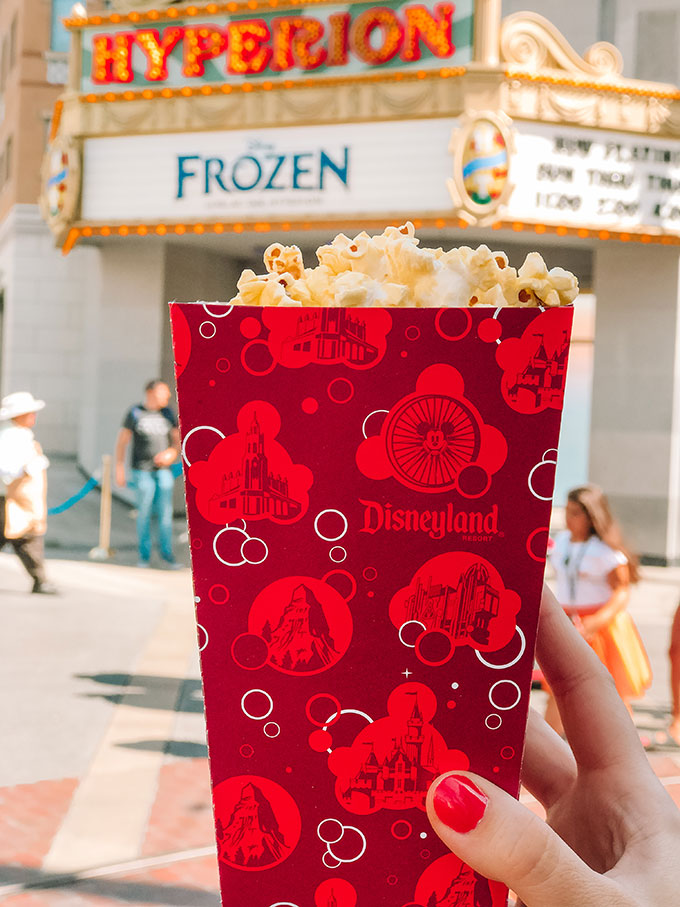 Freshly Popped Popcorn Outside Hyperion Theater in California Adventure