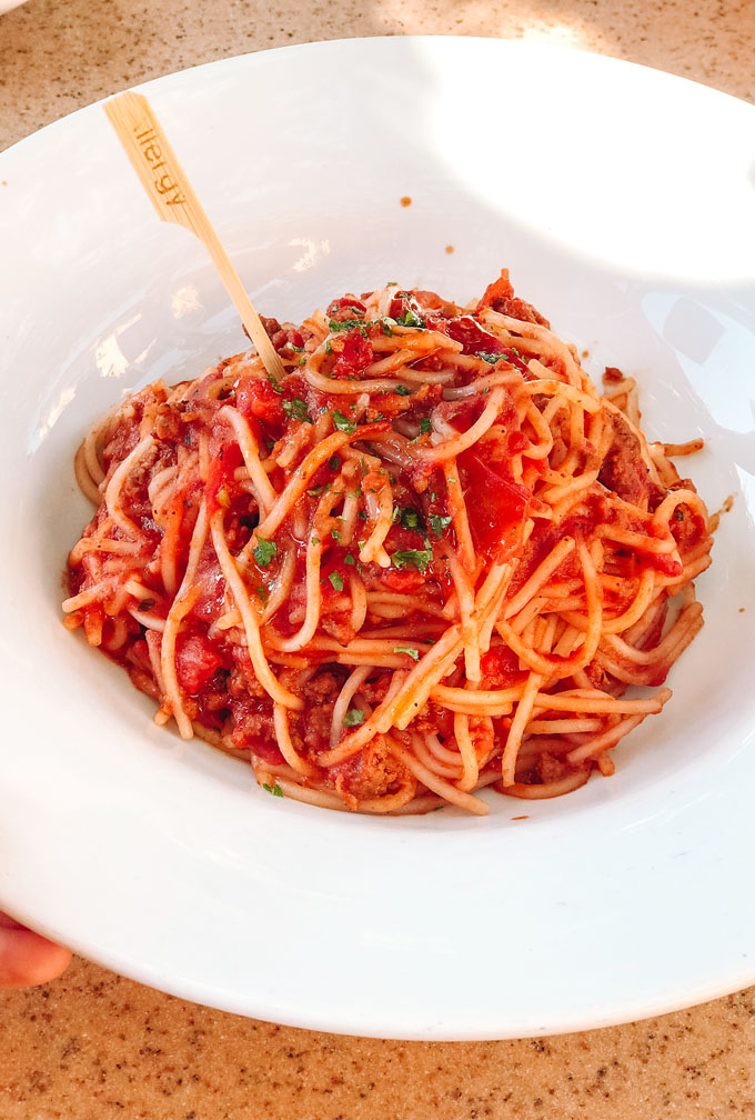 Wine Country Trattoria Allergy Friendly Menu - Gluten Free Spaghetti Bolognese with rice pasta.