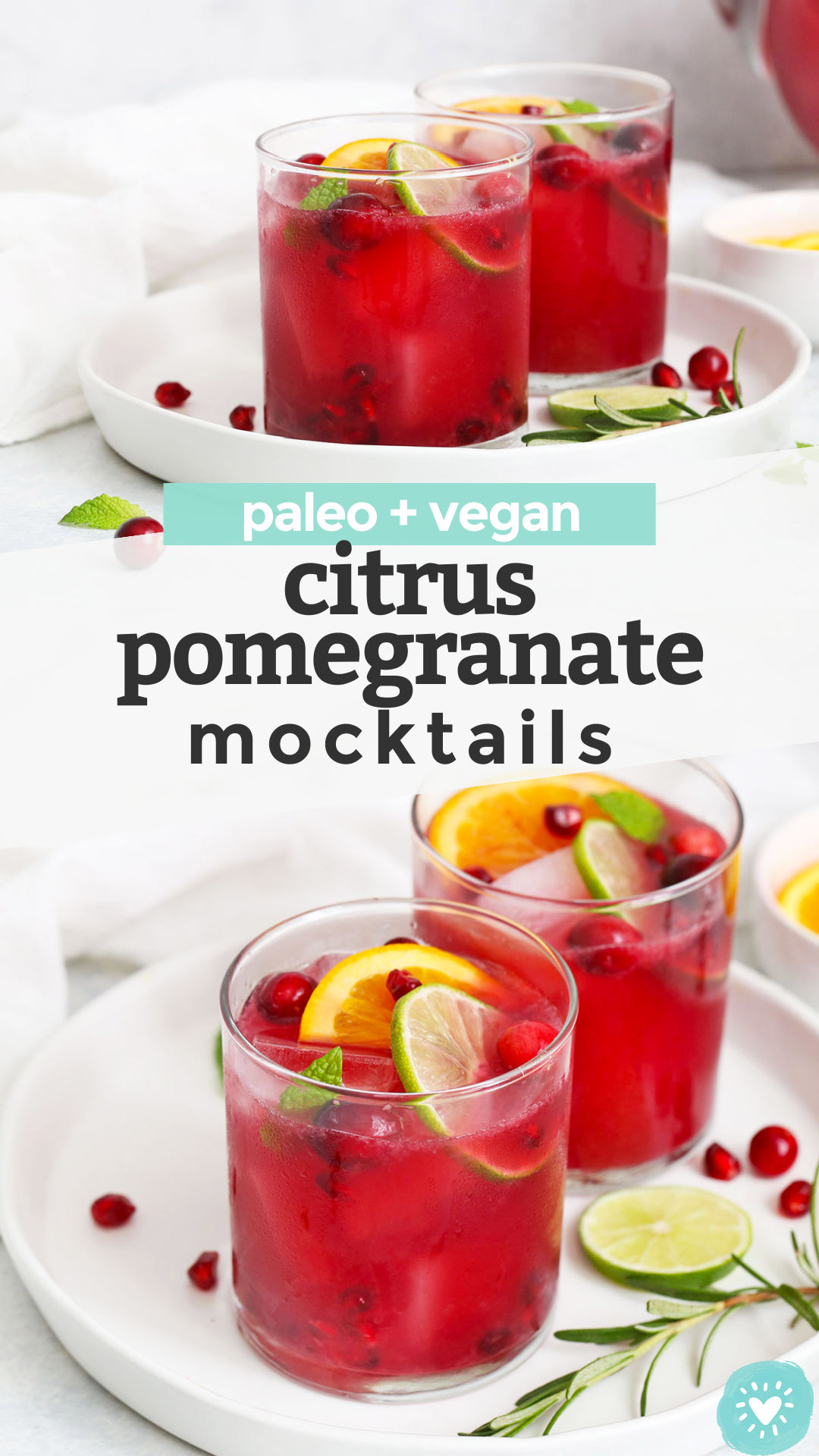 Sparkling Citrus Pomegranate Mocktail - This bright, crisp pomegranate drink has a delicious sweet-tart flavor and just enough bubbles to keep things fun. You'll love it all holiday season! (Paleo & Vegan) // holiday mocktail recipe // paleo mocktail // vegan mocktail #paleo #vegan #mocktail #nonalcoholic #drink #christmas #newyears #thanksgiving