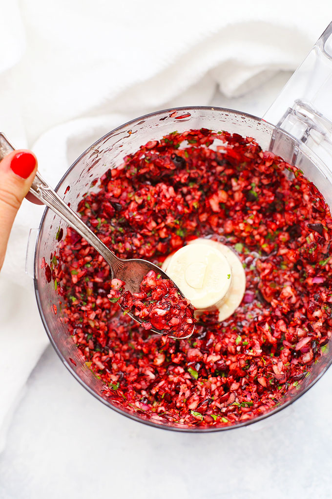 Fresh Cranberry Salsa Holiday Appetizer from One Lovely Life