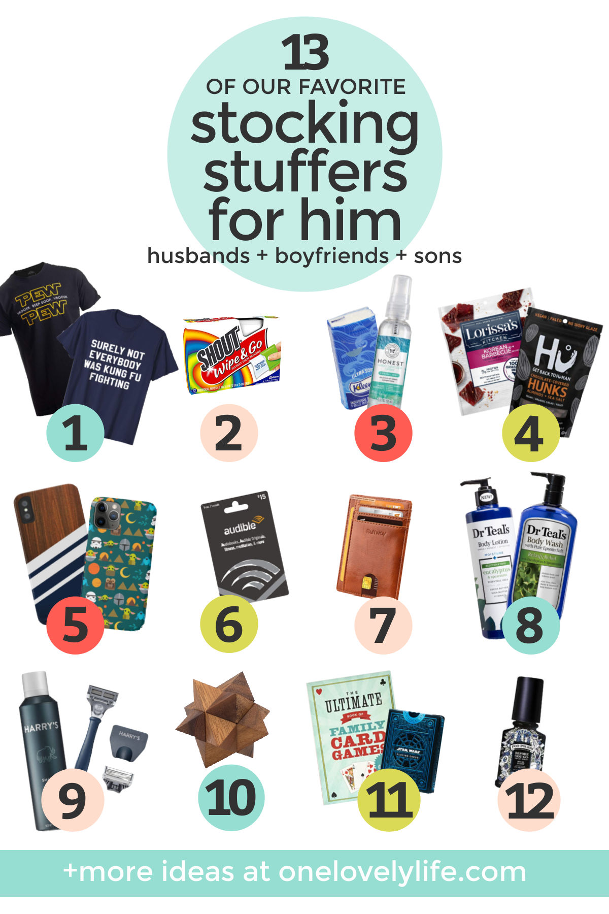 "Collage of images of stocking stuffers on a white background with text overlay that reads ""Our Favorite Stocking Stuffers For Guys--Husbands, Boyfriends + Sons"""