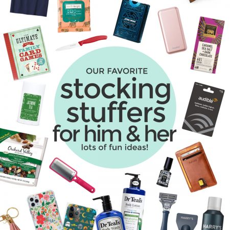 """collage of images of stocking stuffers on a white background with text overlay that reads """"Our Favorite Stocking Stuffers for Him & Her. Lots of Fun Ideas!"""""""