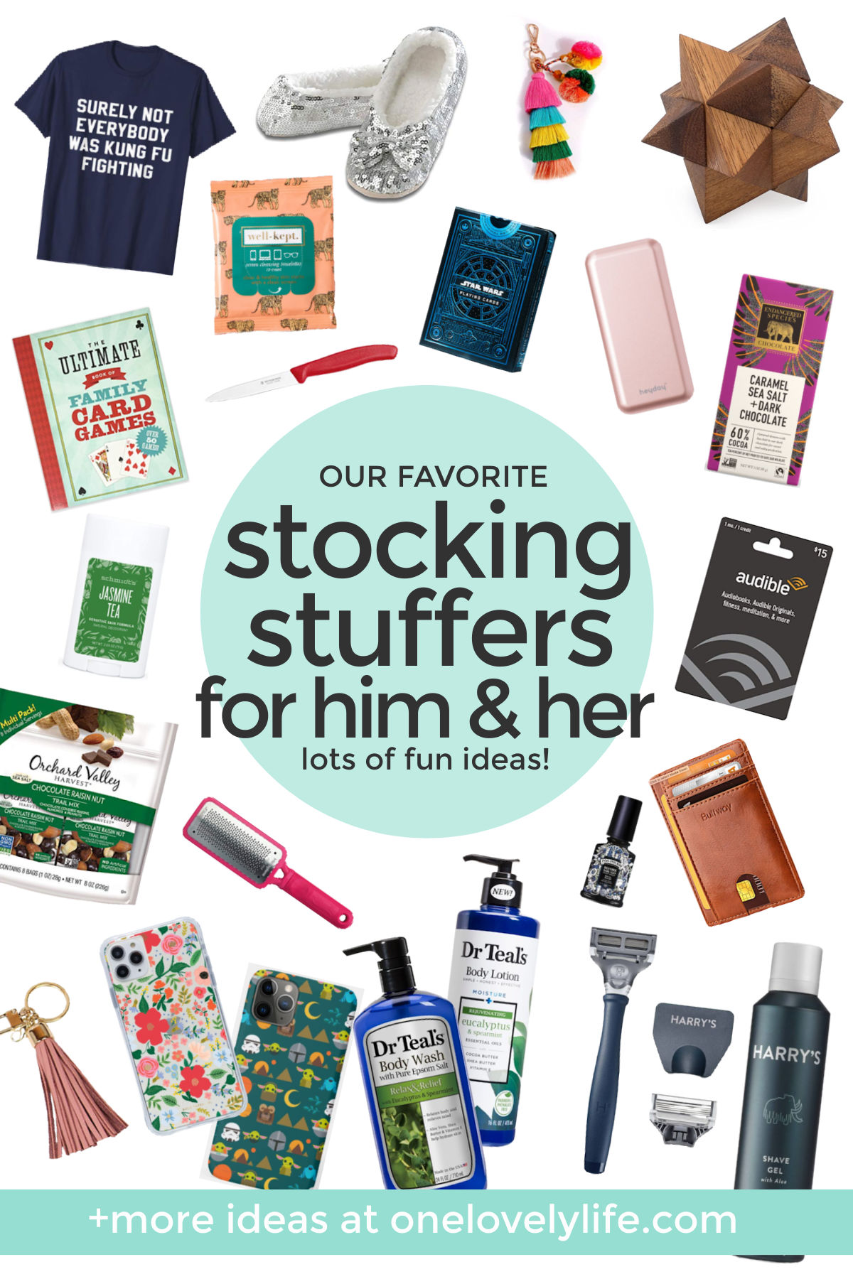 "collage of images of stocking stuffers on a white background with text overlay that reads ""Our Favorite Stocking Stuffers for Him & Her. Lots of Fun Ideas!"""