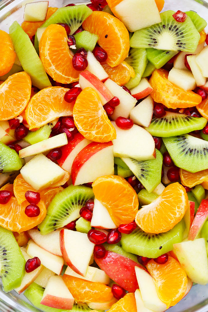 Winter Fruit Salad with Citrus Dressing from One Lovely Life