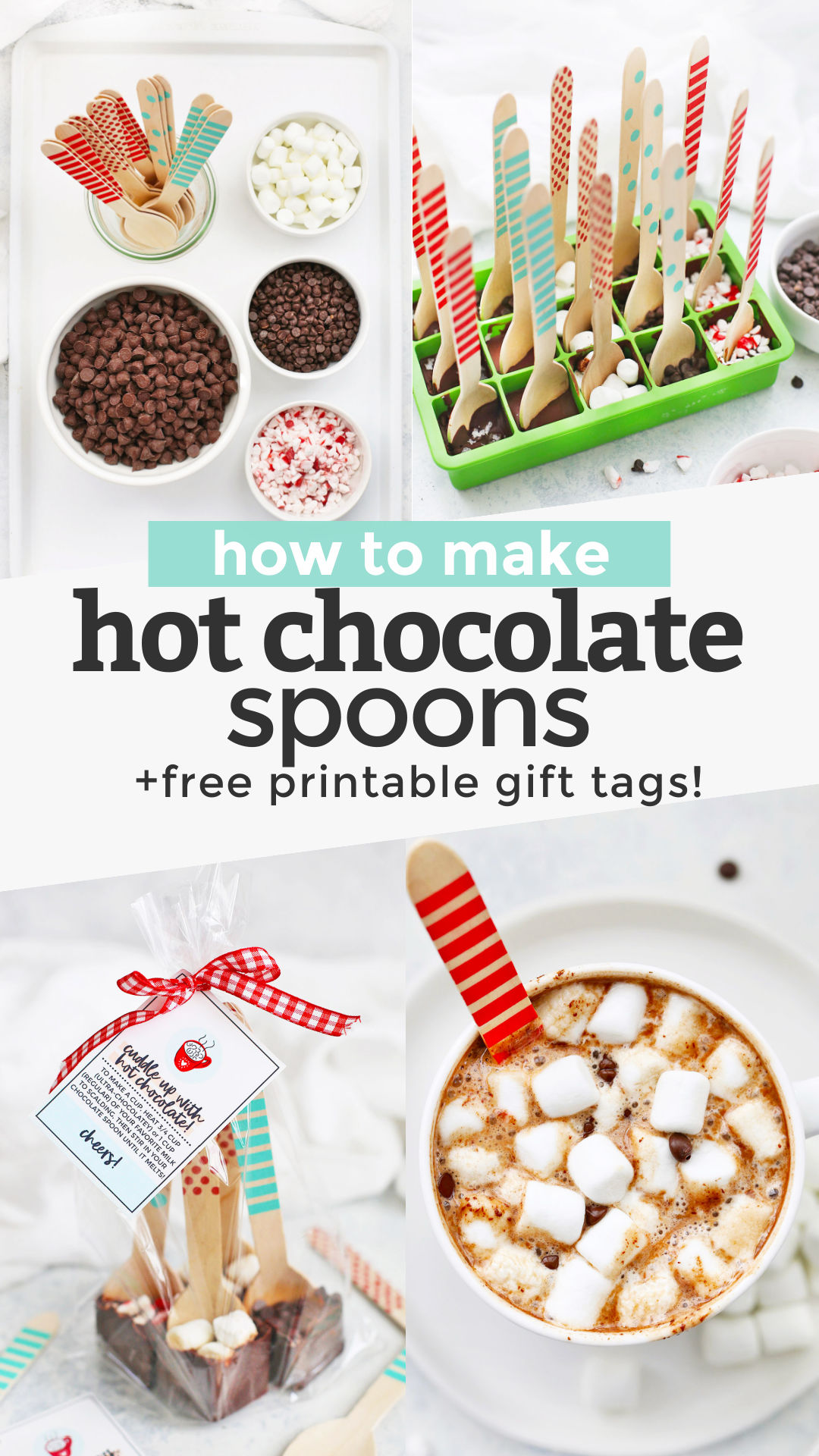 Hot Chocolate Spoons + FREE PRINTABLE GIFT TAGS! These chocolate-coated spoons are perfect for making homemade hot chocolate. They make a fun winter project or easy DIY holiday gift for friends and neighbors! (Gluten-free, dairy-free, paleo & vegan-friendly!) #hotchocolate #diygift #ediblegift #holidaygift #hotcocoa #hotchocolatespoon #vegan #allergyfriendly #paleo #freeprintable #printablegifttag