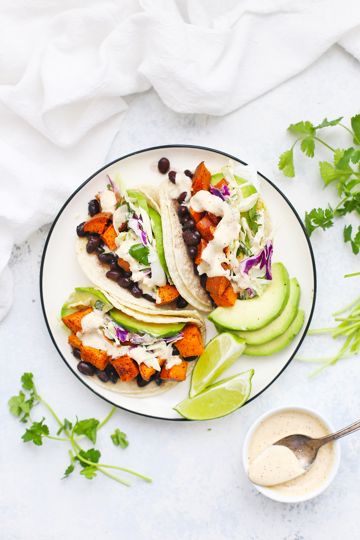 Sweet Potato Black Bean Tacos from One Lovely Life