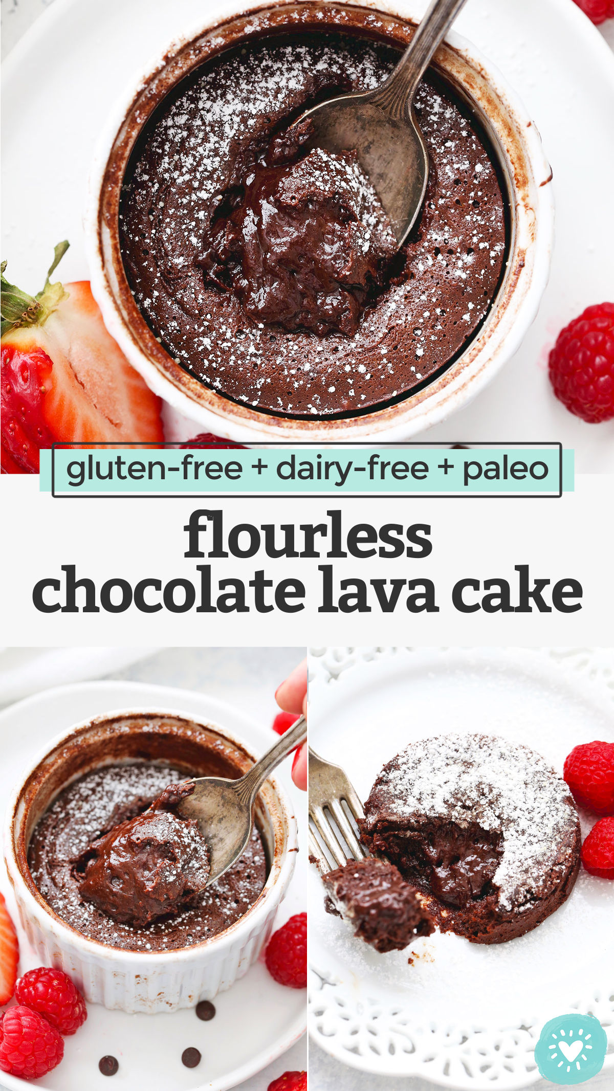 Paleo Chocolate Lava Cake - Super fudgy with a gooey molten chocolate filling, this flourless chocolate lava cake makes a perfect special occasion dessert! (Dairy-free, gluten-free, paleo) // Gluten Free Lava Cake // Paleo Lava Cake // dairy free lava cake #lavacake #chocolate #chocolatecake #paleo #glutenfree #flourless