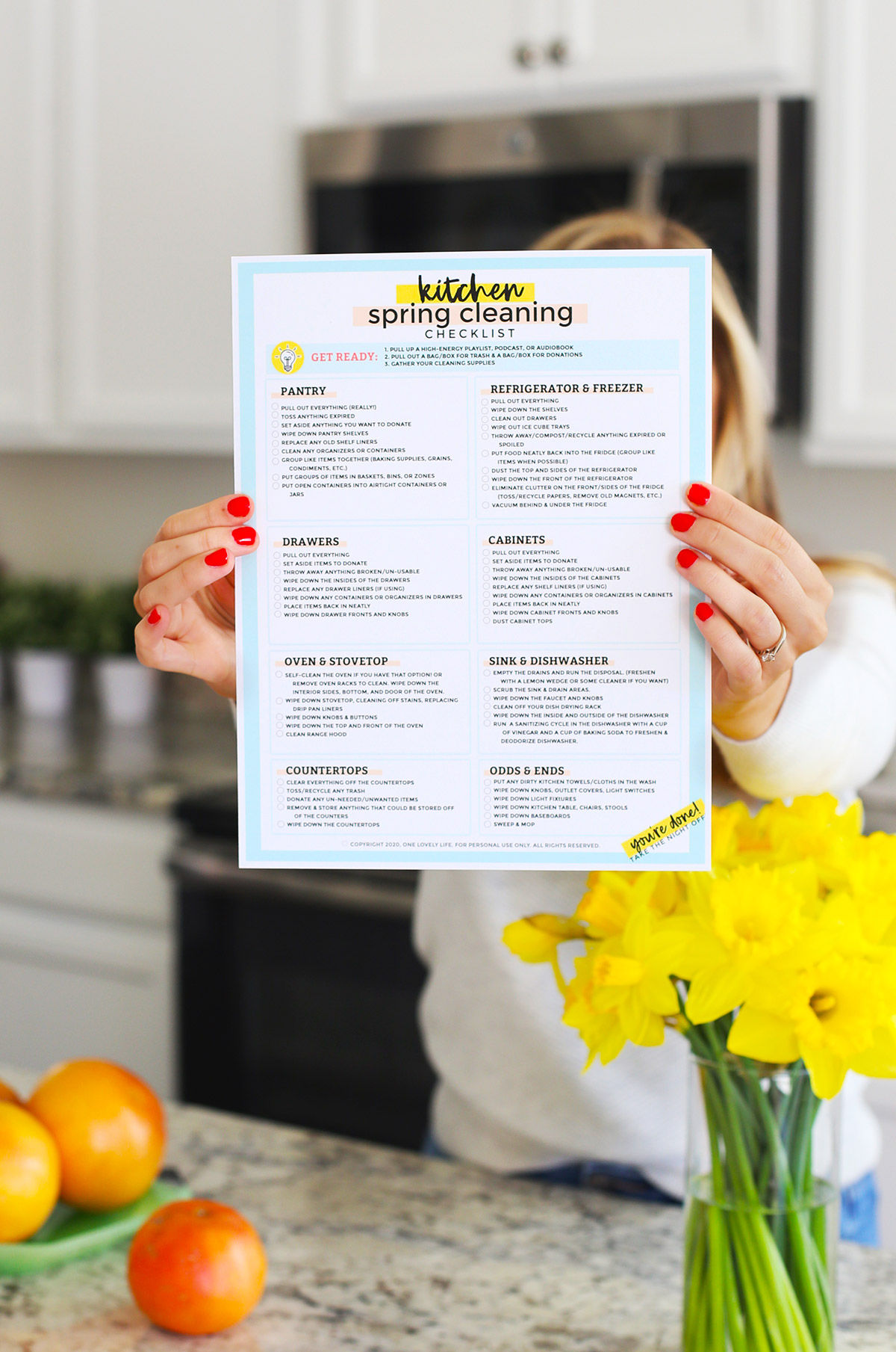 Free Printable Cleaning Checklist from One Lovely Life