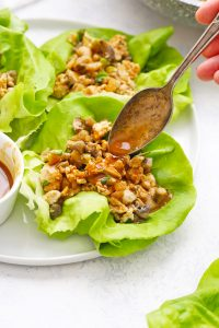 Whole30, Paleo Chicken Lettuce Wraps from One Lovely Life