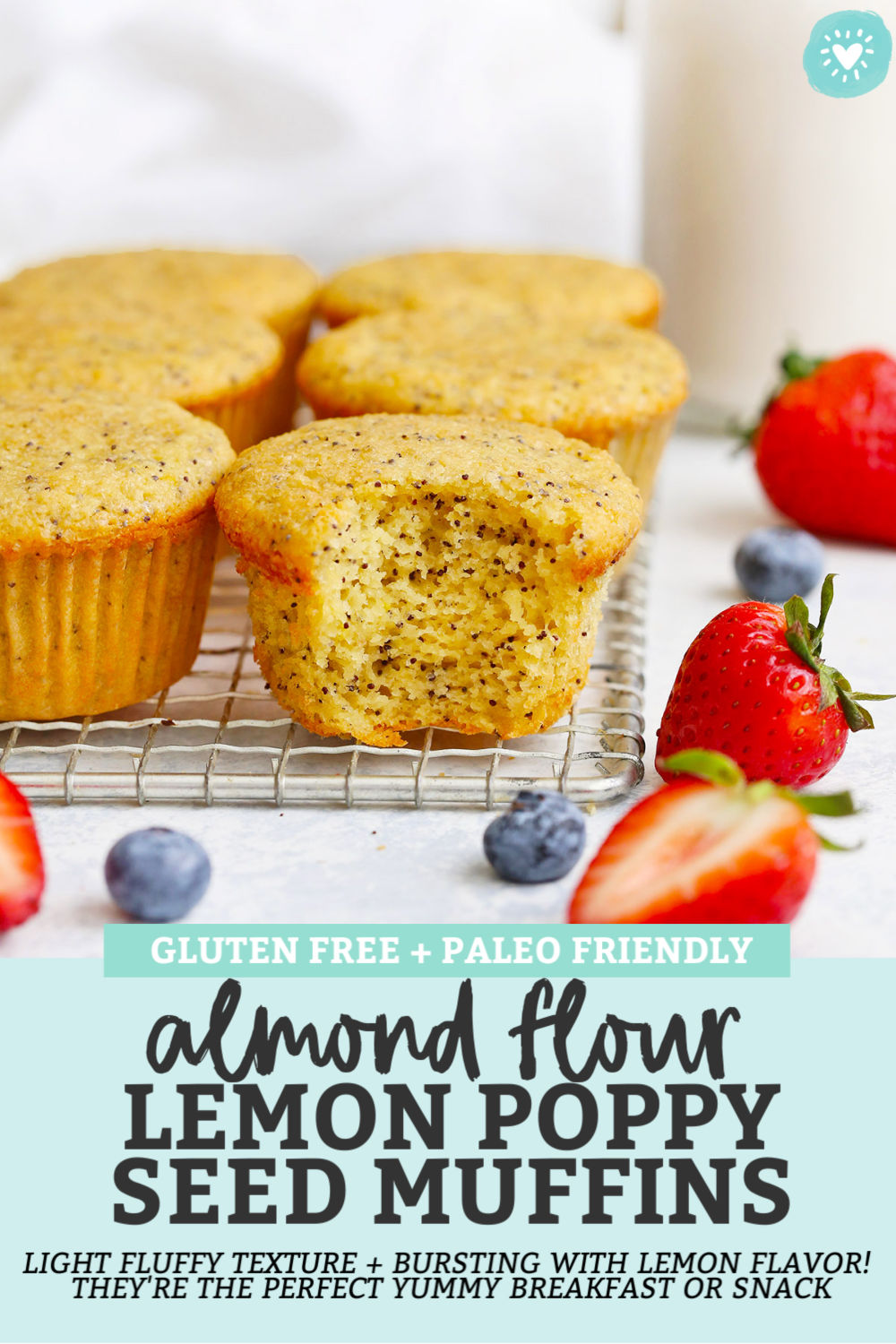 Almond Flour Lemon Poppy Seed Muffins - These gluten-free lemon poppy seed muffins have a light, fluffy texture and are BURSTING with lemon flavor. They're the perfect yummy breakfast or snack! // Paleo Lemon Poppy Seed Muffins // Gluten Free Lemon Poppy Seed Muffins #muffins #almondflour #lemon #poppyseed #paleo #glutenfree
