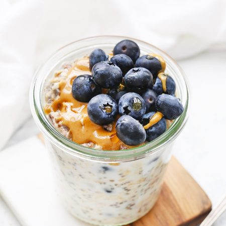 Blueberry Muffin Overnight Oats from One Lovely Life