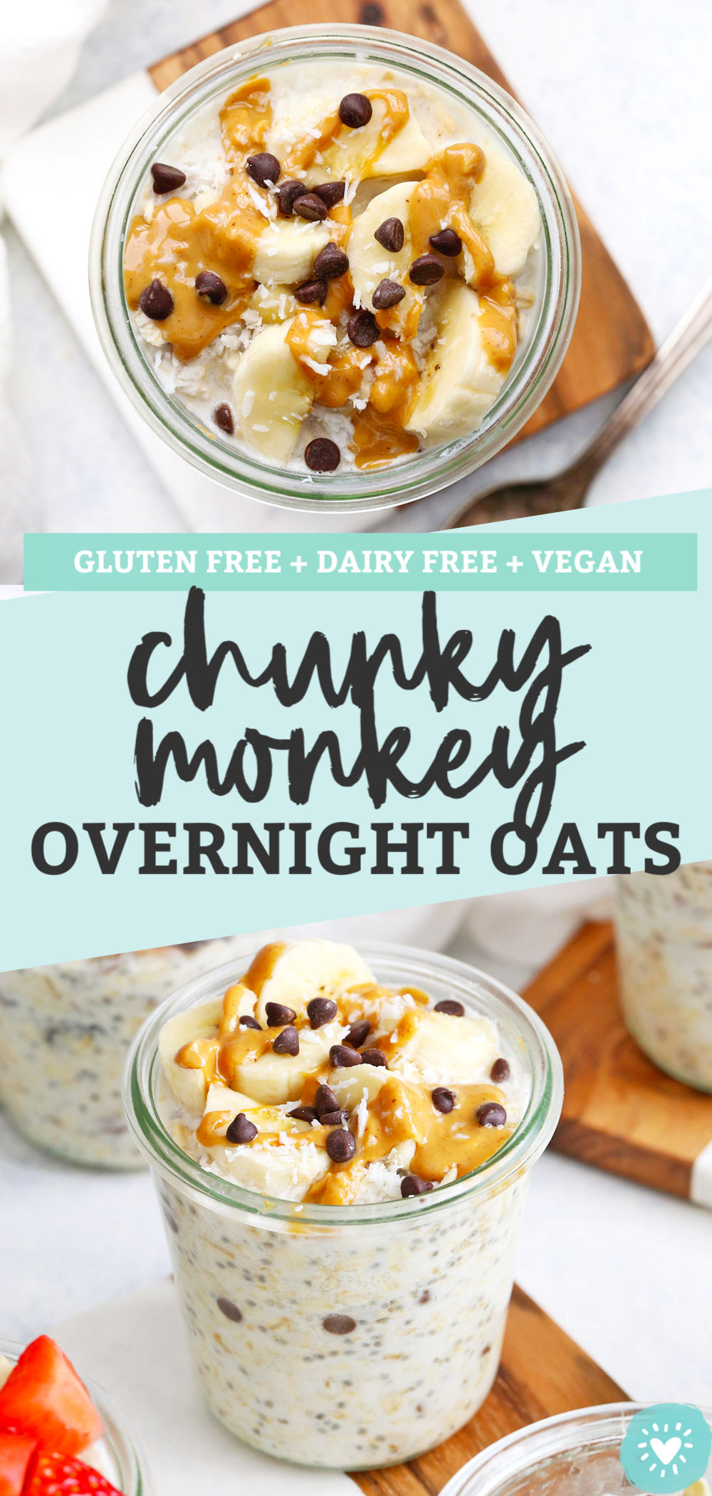 Chunky Monkey Overnight Oats - Creamy peanut butter banana overnight oats with a little sprinkle of coconut and chocolate on top. You'll LOVE this make-ahead breakfast! (Gluten-free, vegan) // Meal Prep Breakfast // Peanut Butter Banana Overnight Oats // Healthy Breakfast #glutenfree #overnightoats #oatmeal #vegan #healthybreakfast