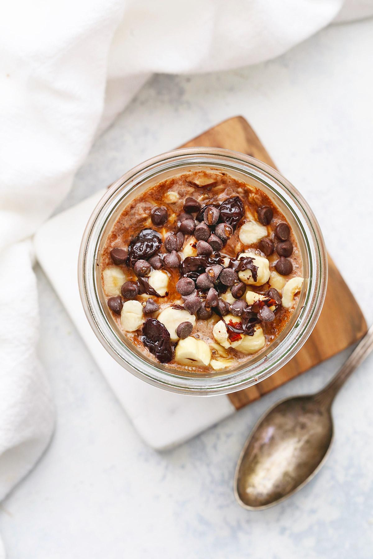 Chocolate Hazelnut Overnight Oats from One Lovely Life
