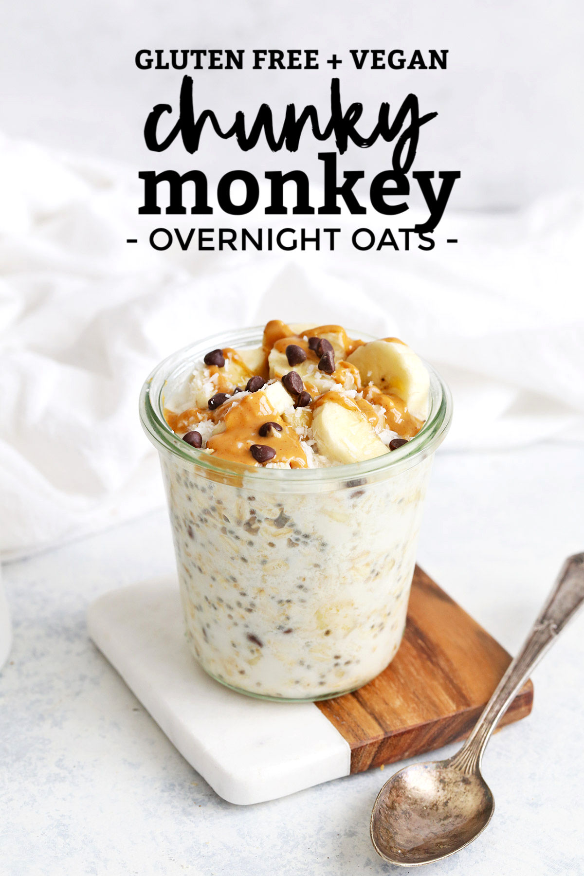 Chunky Monkey Overnight Oats from One Lovely Life