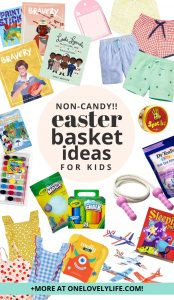 A collage of non-candy Easter basket ideas for kids