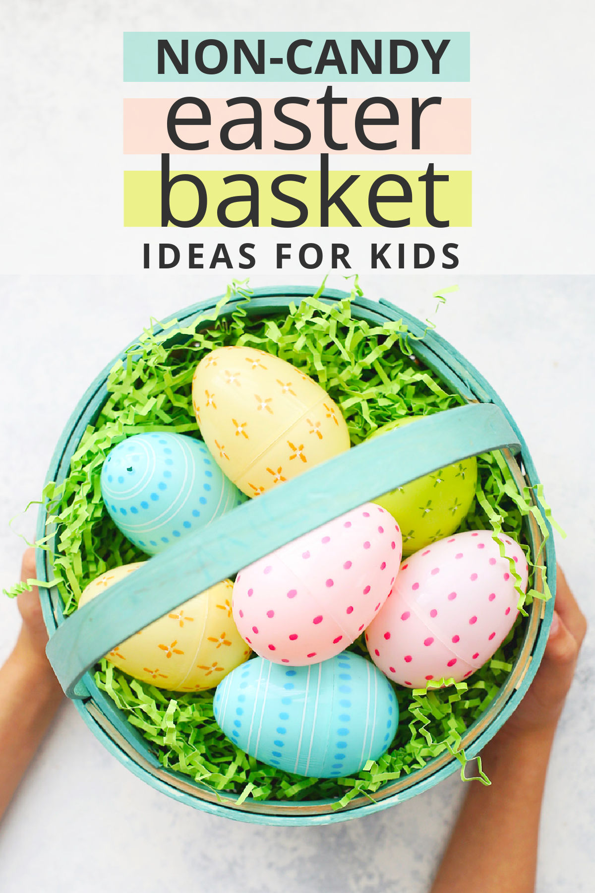 GREAT list of kids Easter basket ideas! No candy ideas for Easter from books to craft supplies, swimsuits, and more! // Easter Basket Ideas // Easter baskets for kids // boys easter baskets // girls easter baskets // Easter gifts #easterbaskets #easter #giftideas