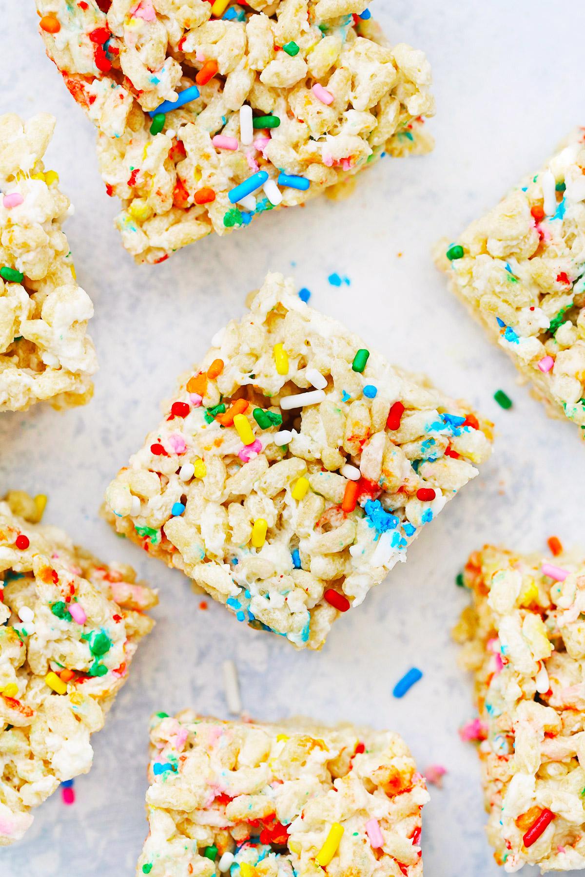Wondrous Funfetti Birthday Cake Rice Krispies Treats Gluten Free Vegan Personalised Birthday Cards Sponlily Jamesorg