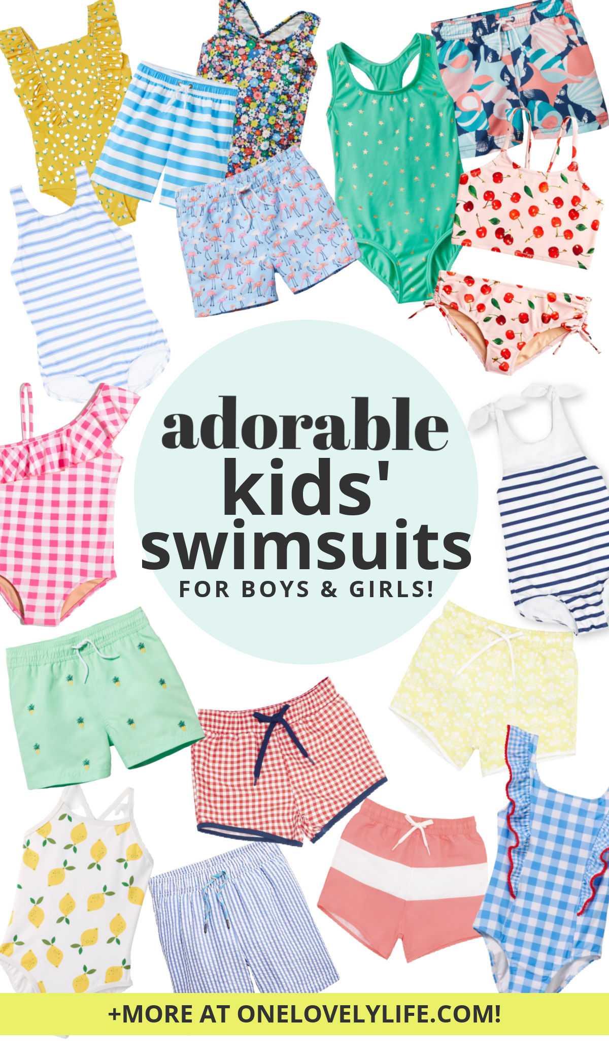 collage of cute boys and girls kids swimsuits for summer 2021 on a white background.