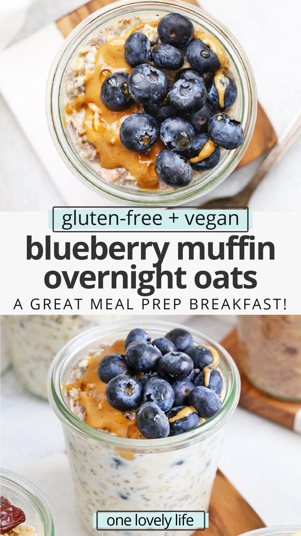 Blueberry Muffin Overnight Oats - Creamy, delicious overnight oats with a blueberry muffin twist! You'll love this yummy meal prep breakfast! (Gluten-free, vegan) // Meal Prep Breakfast // Blueberry Overnight Oats // Healthy Breakfast #glutenfree #overnightoats #oatmeal #vegan #healthybreakfast