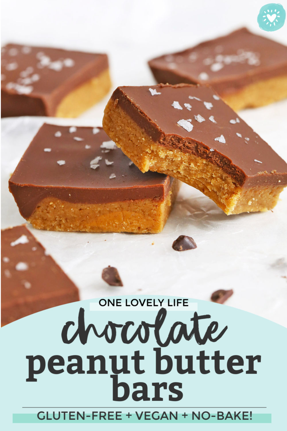 Healthy No Bake Chocolate Peanut Butter Bars from One Lovely Life