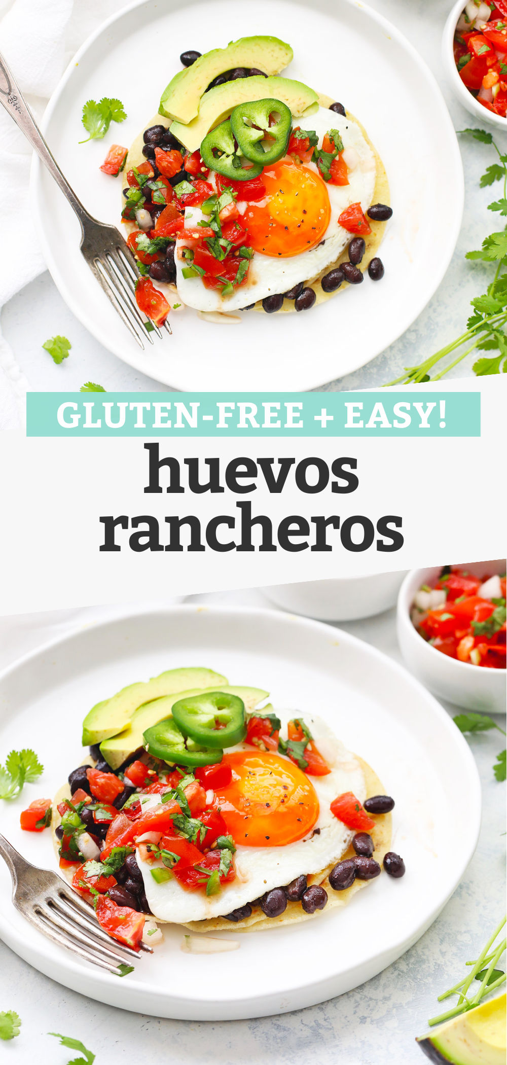 "Collage of images of huevos rancheros with fresh pico de gallo with text overlay that reads ""gluten-free + easy huevos rancheros"""