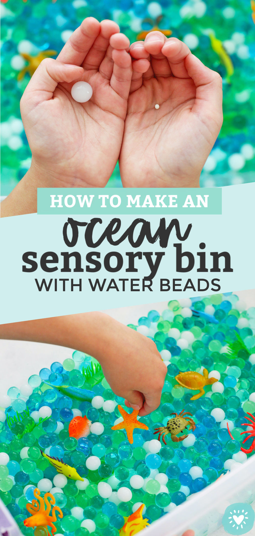 How to Make an Ocean Sensory Bin with Water Beads from One Lovely Life