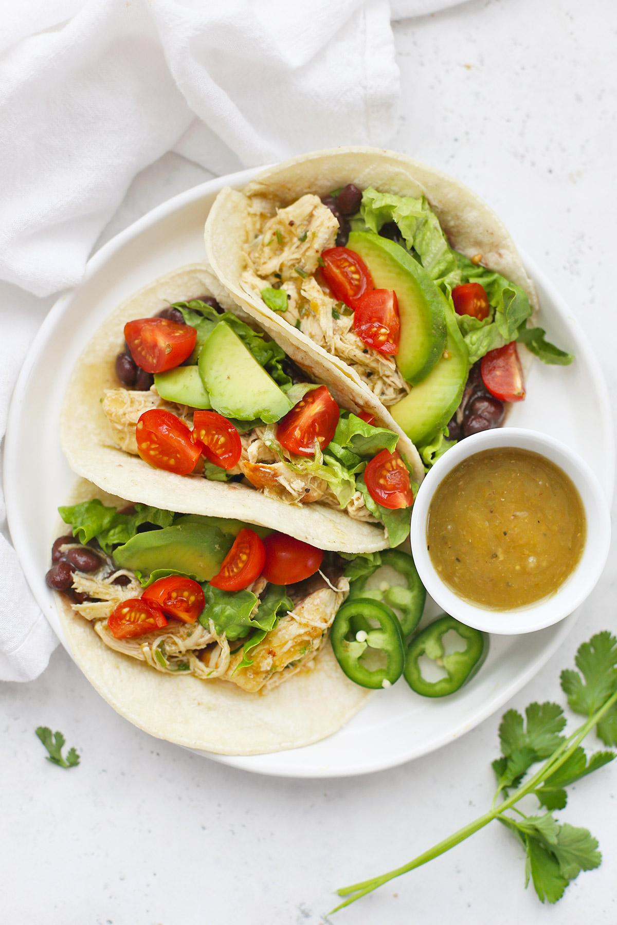 Instant Pot Salsa Verde Chicken Tacos