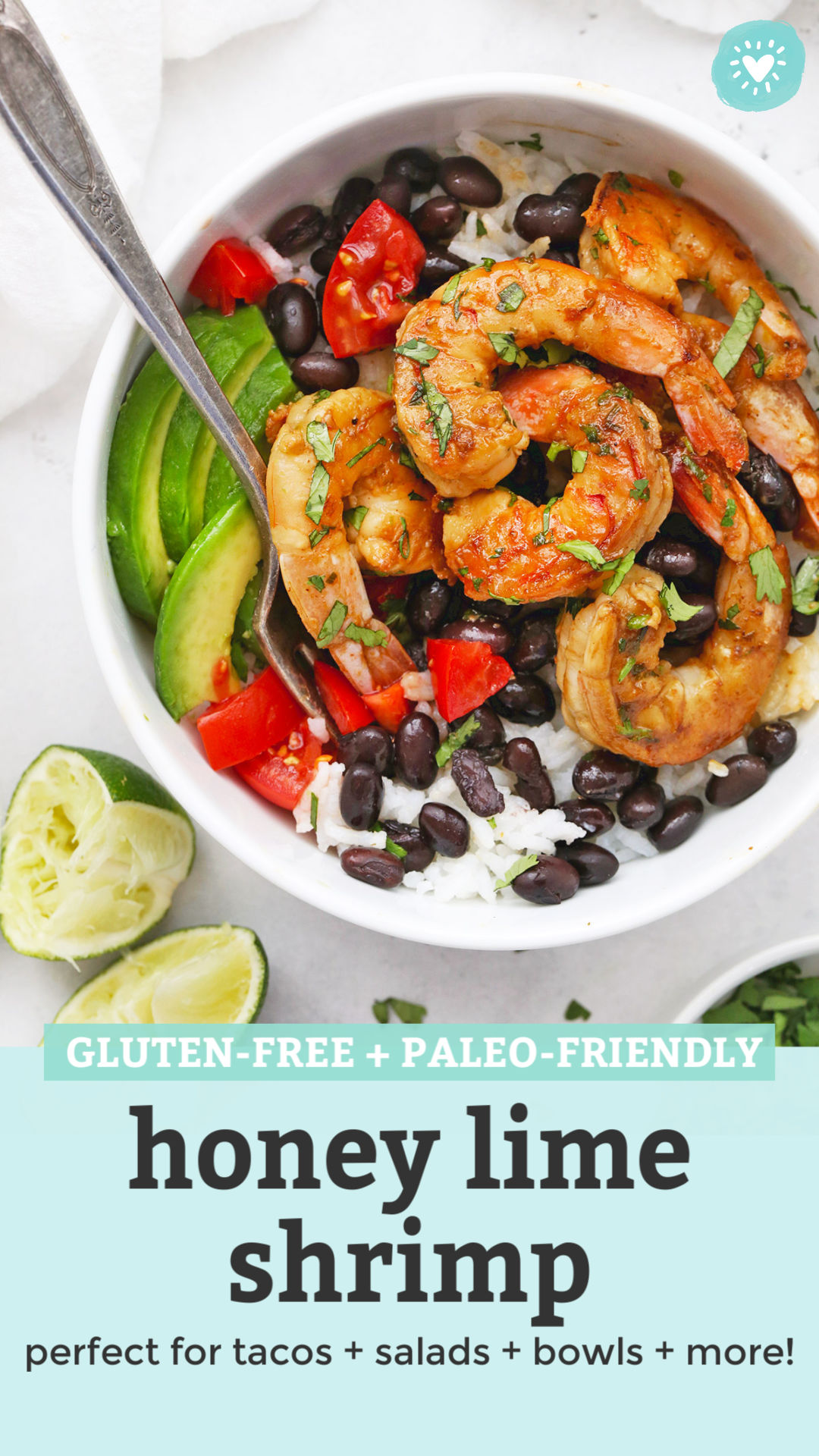 Honey Lime Shrimp Bowls from One Lovely Life