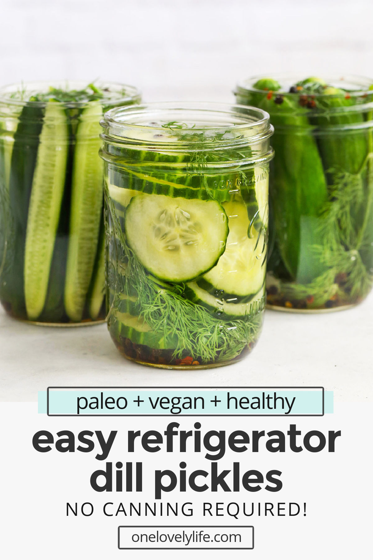 Refrigerator Dill Pickles - It's easy to make refrigerator dill pickles at home. No fancy equipment or special skills required! (Paleo, Whole30, Gluten-Free) // dill pickles recipe // refrigerator pickles recipe #pickles #dillpickles #refrigeratorpickles #summer