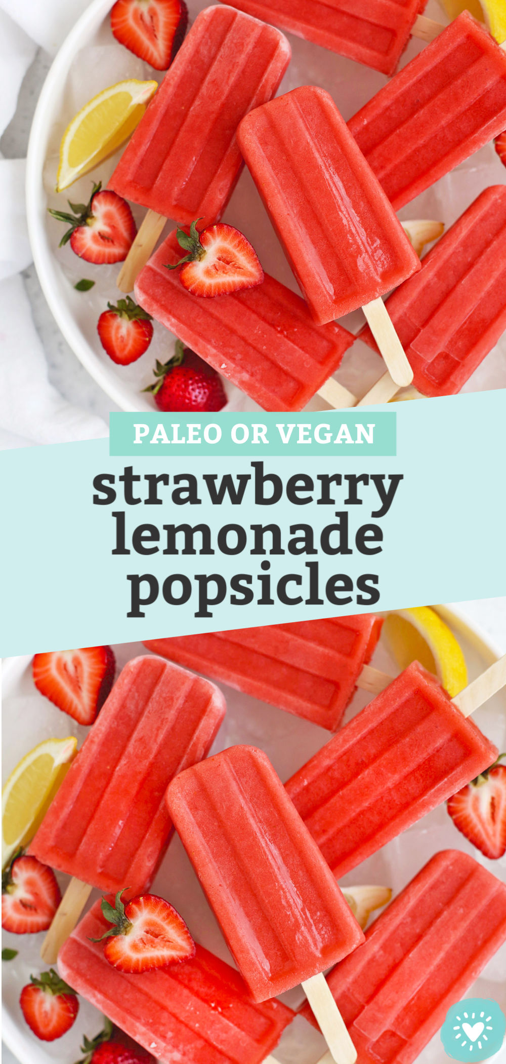 Strawberry Lemonade Popsicles from One Lovely Life