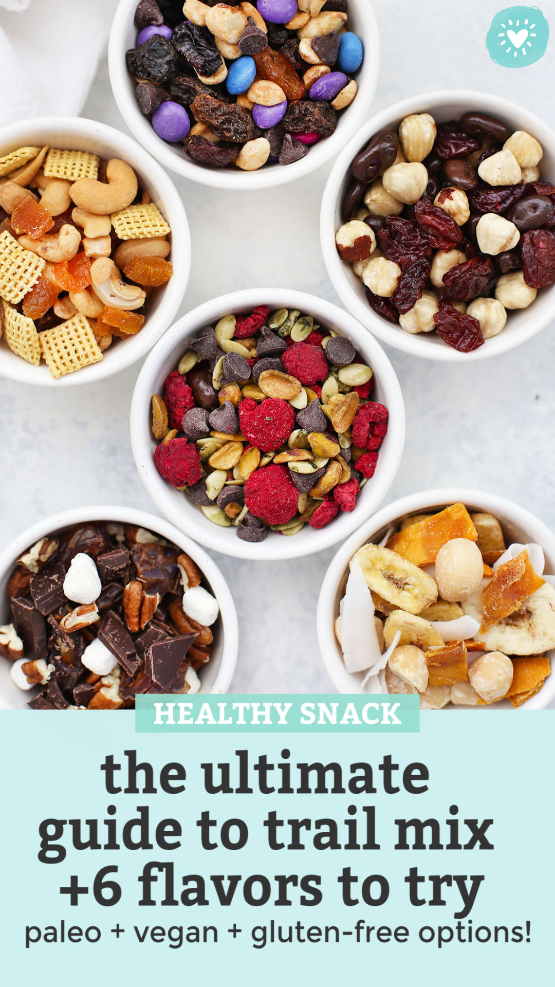 How to Make the BEST Trail Mix - Try this DIY Trail Mix Bar to make a week of healthy snacks in no time with these yummy trail mix ideas! Try our favorite flavor combinations or create your own. Gluten free, vegan, paleo, and Whole30 options! // Paleo snack // Trail Mix // Gluten free snack // Vegan snack #trailmix #glutenfree #vegan #paleo #snack #healthysnack