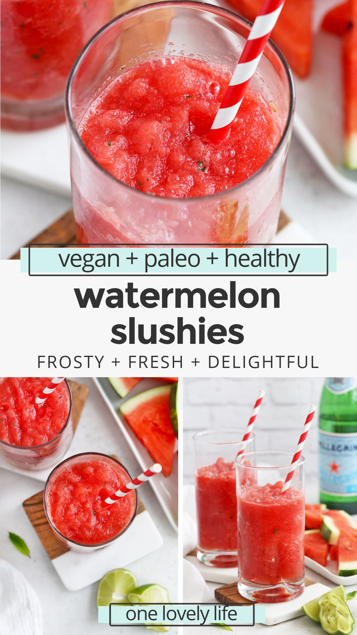 Watermelon Slushie - These frosty watermelon slushies are made from whole-food ingredients and taste AMAZING. So refreshing on a hot day! (Paleo, Vegan) // Watermelon slushy // watermelon icee // watermelon frosty // watermelon drink // watermelon cooler #watermelon #drink #paleo #vegan #healthy