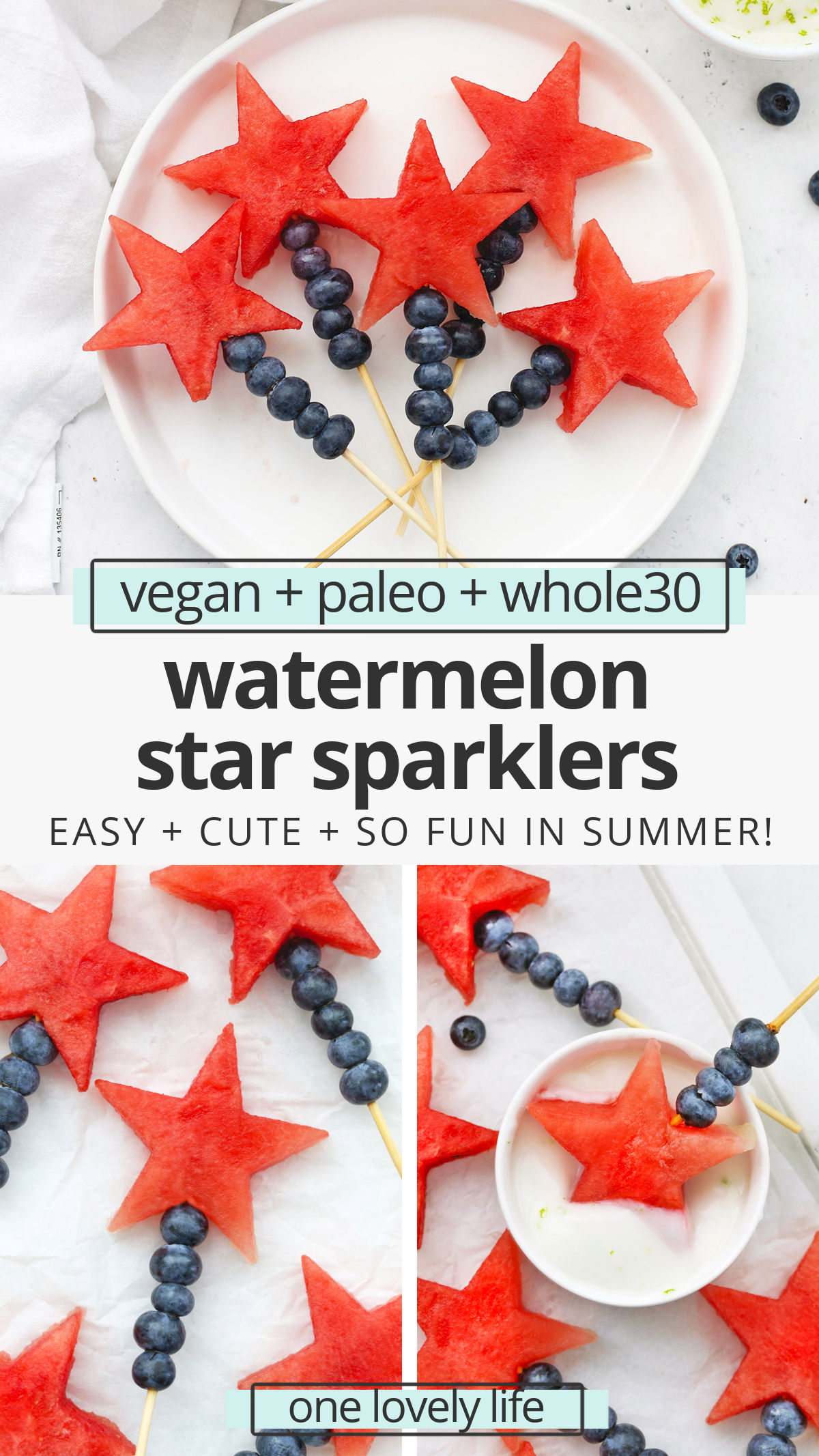 Watermelon Star Sparklers - Watermelon stars and blueberries combine to make these fun, patriotic fruit sparklers. They're a perfect, easy snack or summer side dish. (Naturally Paleo, Vegan & Gluten-Free) // Patriotic Fruit Skewers // 4th of July Side Dish // Red White and Blue Recipes #snack #4thofjuly #summerrecipe #sidedish #fruit #healthysnack