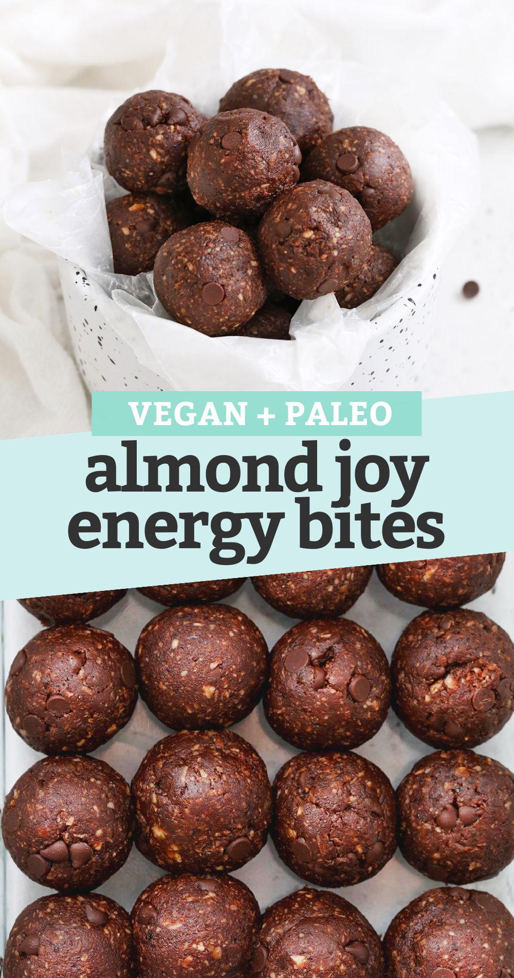 "Collage of images of almond joy energy bites with text overlay that reads ""vegan + paleo almond joy energy bites"""