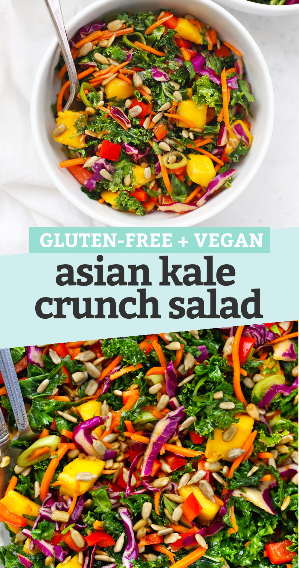 "Collage of images of Asian Kale Crunch Salad with text overlay that reads ""Gluten-free + Vegan Asian Kale Crunch Salad"""